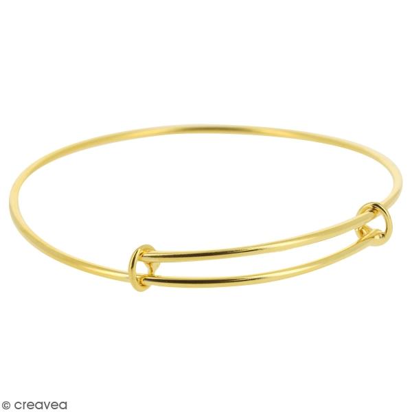Bracelet jonc réglable en métal - Doré - 70 mm - Photo n°1