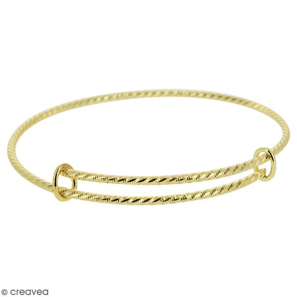 Bracelet jonc réglable en métal texturé - Doré - 70 mm - Photo n°1