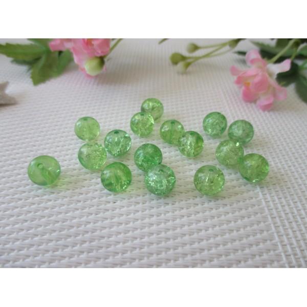 20 perles rondes 10mm verre craquelé VERT et TRANSPARENT DIY création bijoux