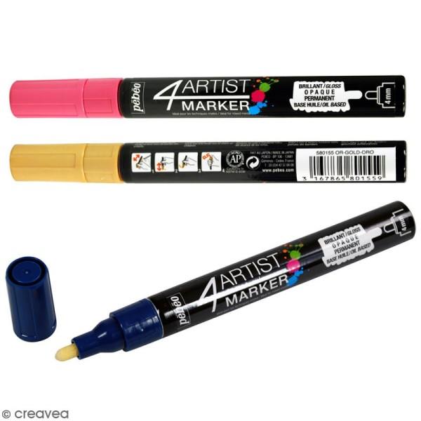 Marqueur à huile 4Artist Marker - Pointe ronde - 4 mm - 18 coloris - Photo n°1