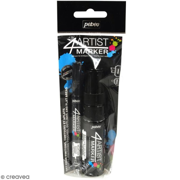 Set Duo 4Artist Marker - Noir  - 2 marqueurs (2 mm/8mm) - Photo n°1
