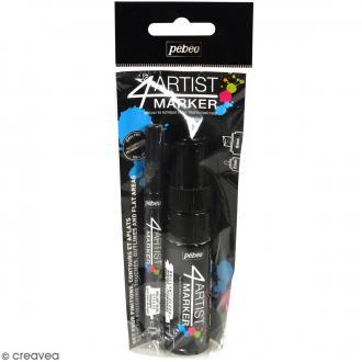 Set Duo 4Artist Marker - Noir  - 2 marqueurs (2 mm/8mm)