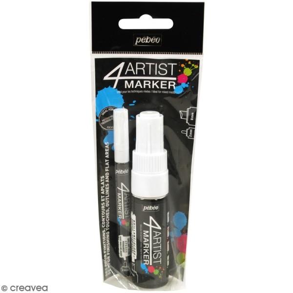 Set Duo 4Artist Marker - Blanc - 2 marqueurs (2 mm/8mm) - Photo n°1