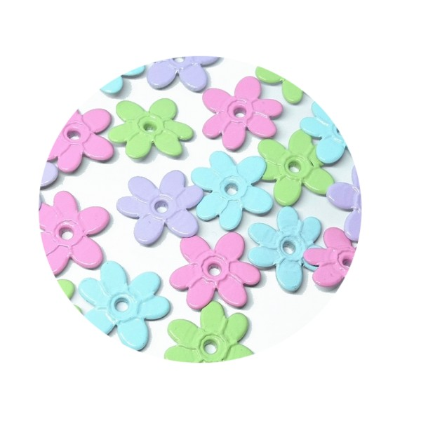60 Oeillets quicklets fleurs pastels 20 mm eyelets scrapbooking - Photo n°1
