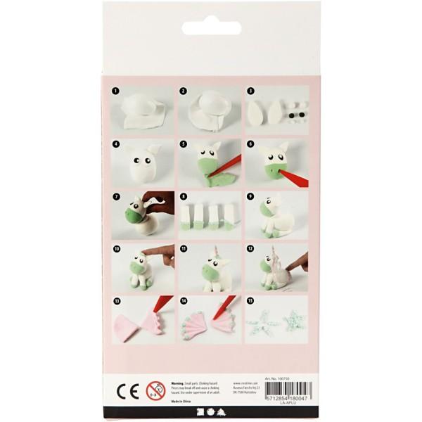Kit activité enfant - Modelage Silk clay et Foam Clay - Licorne verte - Photo n°3