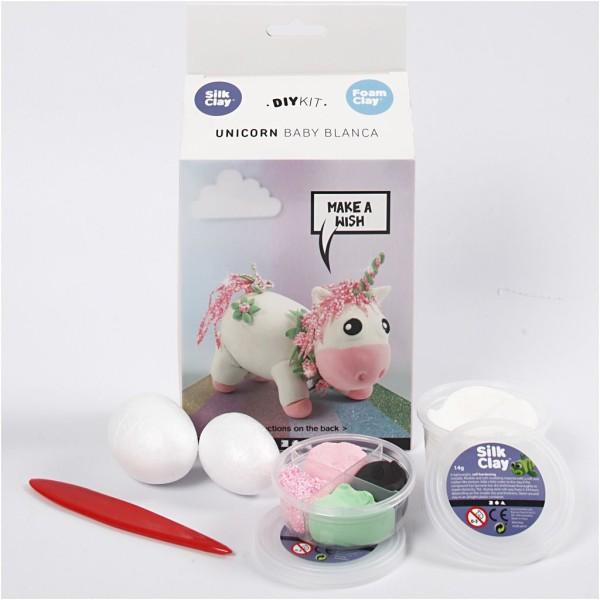Kit activité enfant - Modelage Silk clay - Licorne rose - Photo n°1