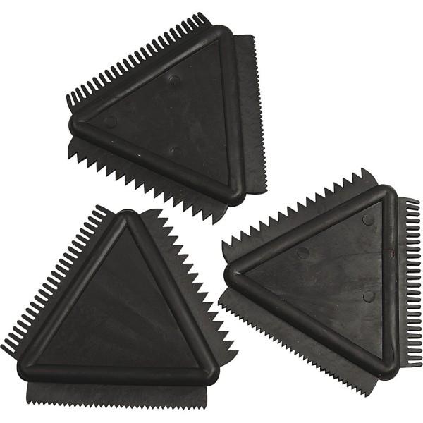 Peignes triangulaires - 3 effets - 9 cm - 3 pcs - Photo n°1