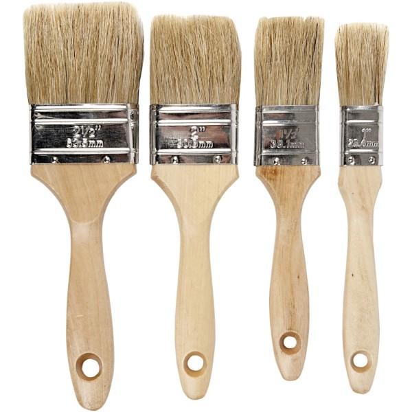 Set de pinceaux à vernis - Poils de porc - 2,5 à 6,3 mm - 4 pcs - Photo n°1