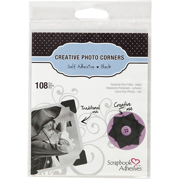Coins photo adhésifs noirs - 12 mm - 108 pcs environ - Photo n°2