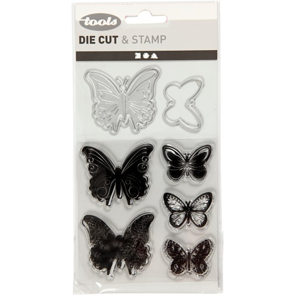 Set de scrapbooking Papillons - Tampons transparents, Matrices de coupe et de gaufrage - 9 pcs - Photo n°2