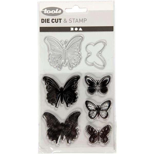 Set de scrapbooking - Tampons transparents, Matrices de coupe et d'embossage - Papillons - 8 pcs - Photo n°2