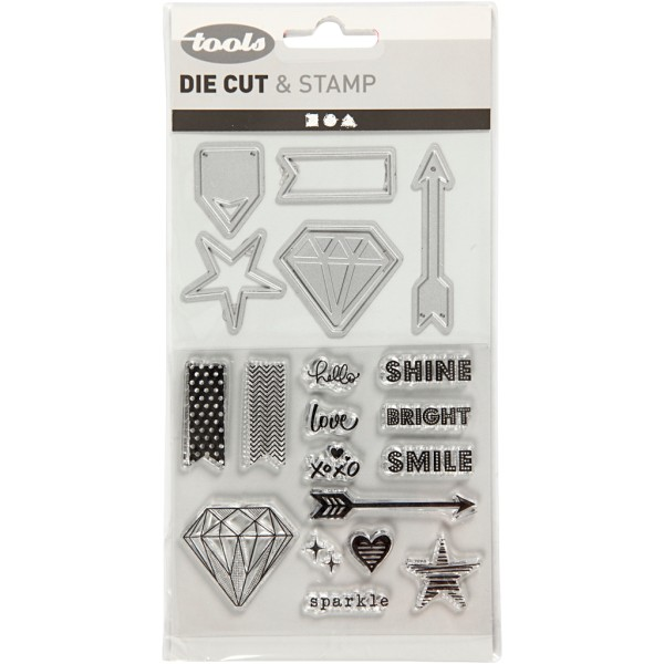 Set de scrapbooking - Tampons transparents, Matrices de coupe et d'embossage - Diamant - 21 pcs - Photo n°2