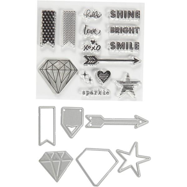 Set de scrapbooking Mots et signes - Tampons transparents, Matrices de coupe et de gaufrage - 21 pcs - Photo n°1