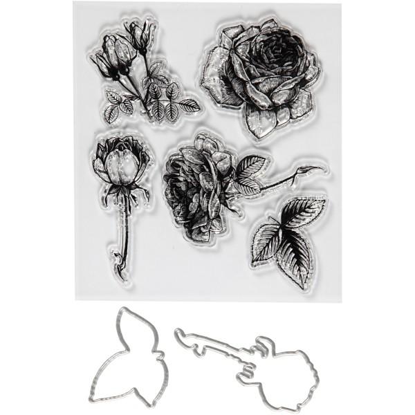 Set de scrapbooking Fleurs - Tampons transparents, Matrices de coupe et de gaufrage - 21 pcs - Photo n°1