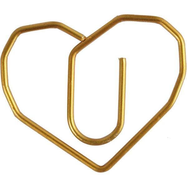 Trombones - Coeurs dorés - 2 x 3 cm - 6 pcs - Photo n°1