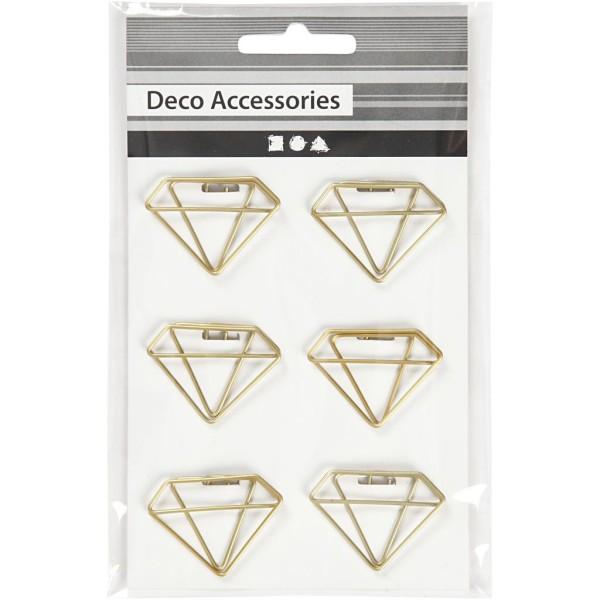 Trombones - Diamant dorés - 2,5 x 3,5 cm - 6 pcs - Photo n°2