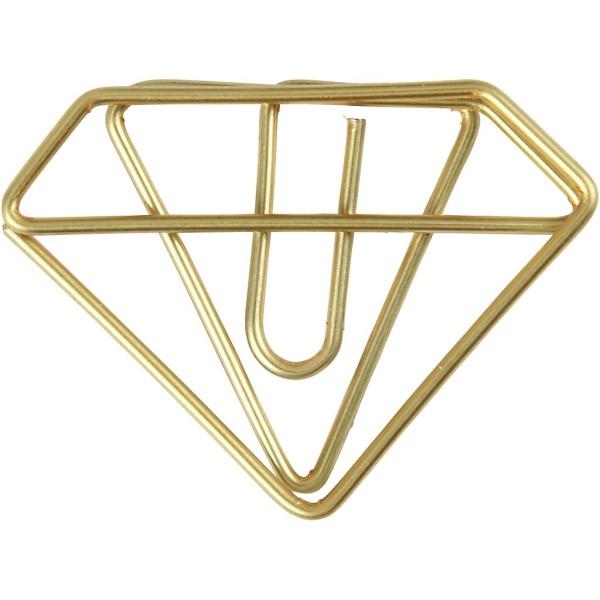 Trombones - Diamant dorés - 2,5 x 3,5 cm - 6 pcs - Photo n°1