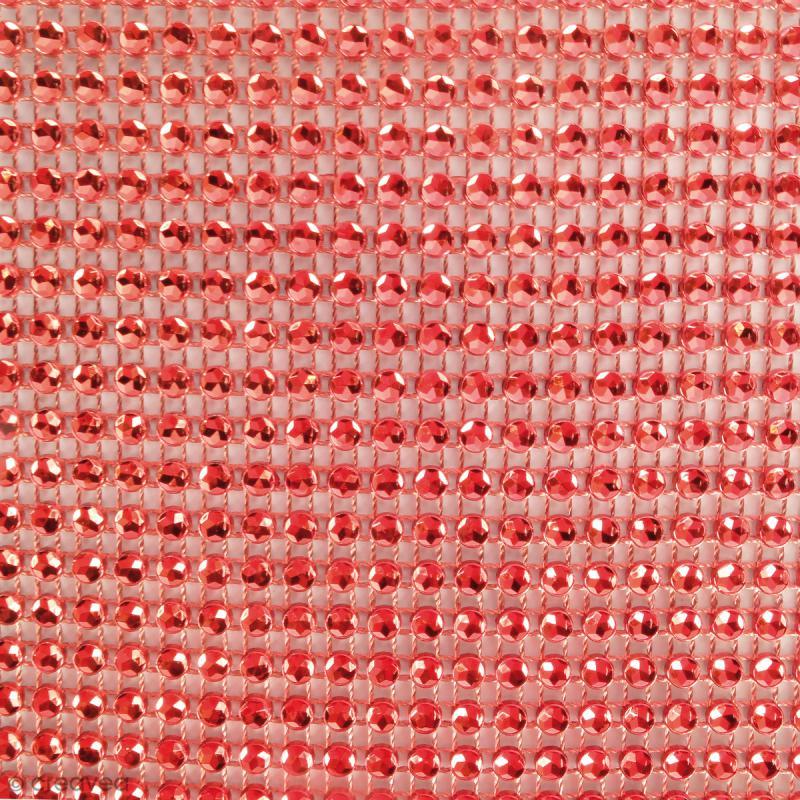 Strass adhésifs en bande - Rouge - 10 x 25,5 cm - Photo n°2