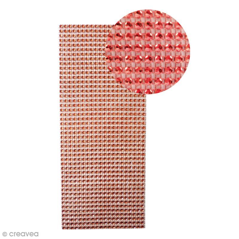 Strass adhésifs en bande - Rouge - 10 x 25,5 cm - Photo n°1