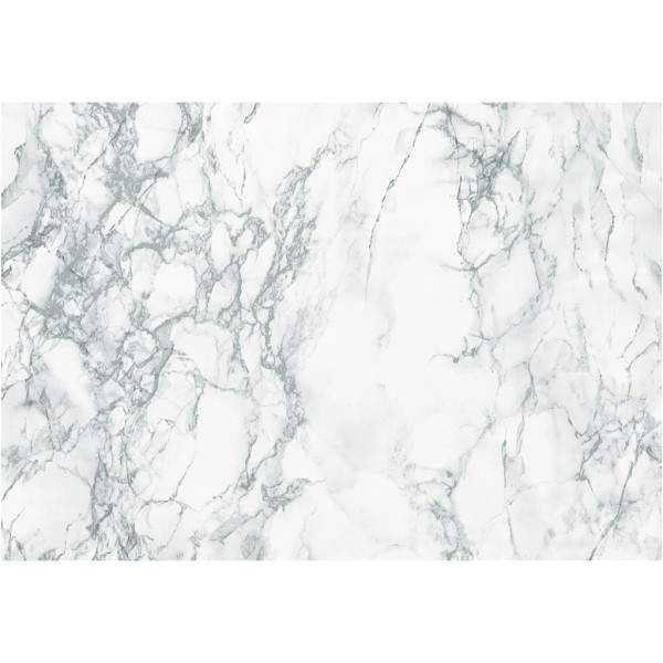 Rouleau d'adhésif décoratif - Marbre blanc - 45 cm x 2 m - Photo n°1