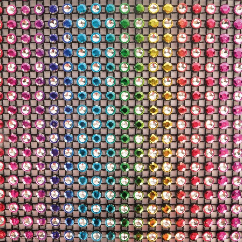 Strass adhésifs en bande - Multicolore foncé - 10 x 25,5 cm - Photo n°2