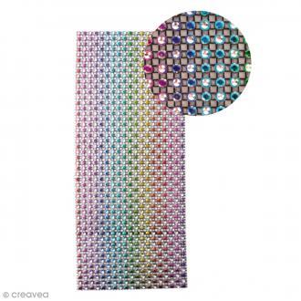 Strass adhésifs en bande - Multicolore foncé - 10 x 25,5 cm
