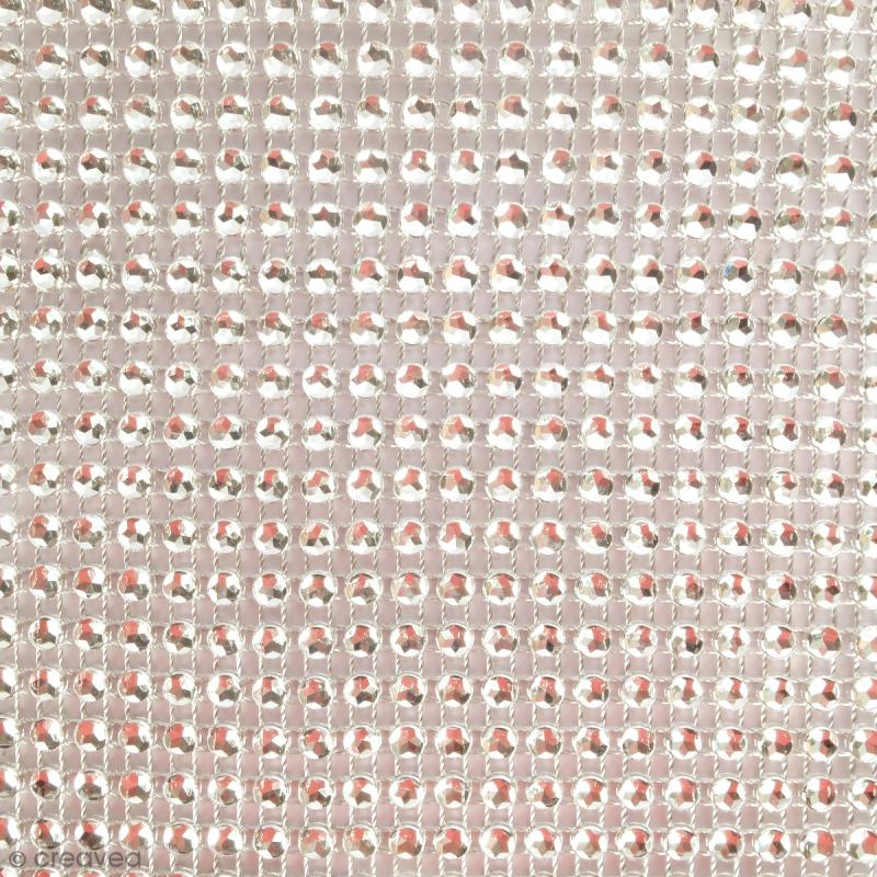 Strass adhésifs en bande - Argenté - 10 x 25,5 cm - Photo n°2
