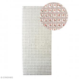 Strass adhésifs en bande - Argenté - 10 x 25,5 cm