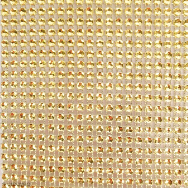 Strass adhésifs en bande - Doré - 10 x 25,5 cm - Photo n°2