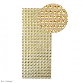 Strass adhésifs en bande - Doré - 10 x 25,5 cm
