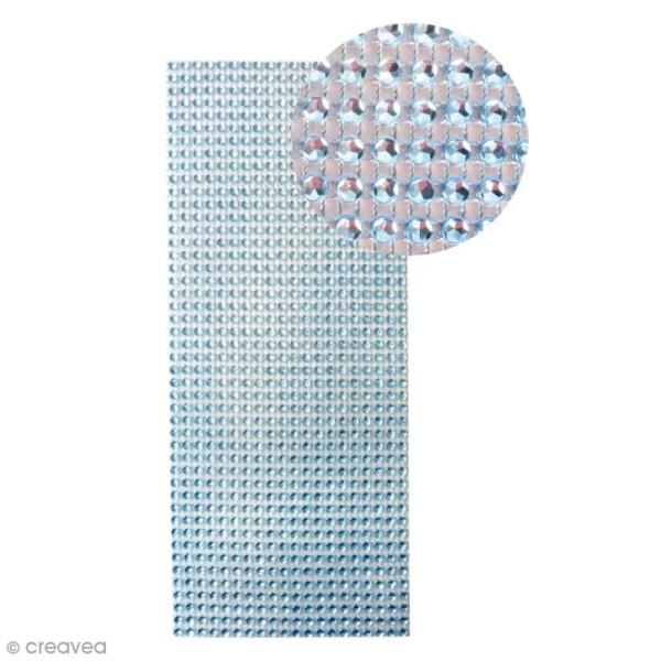 Strass adhésifs en bande - Bleu - 10 x 25,5 cm - Photo n°1