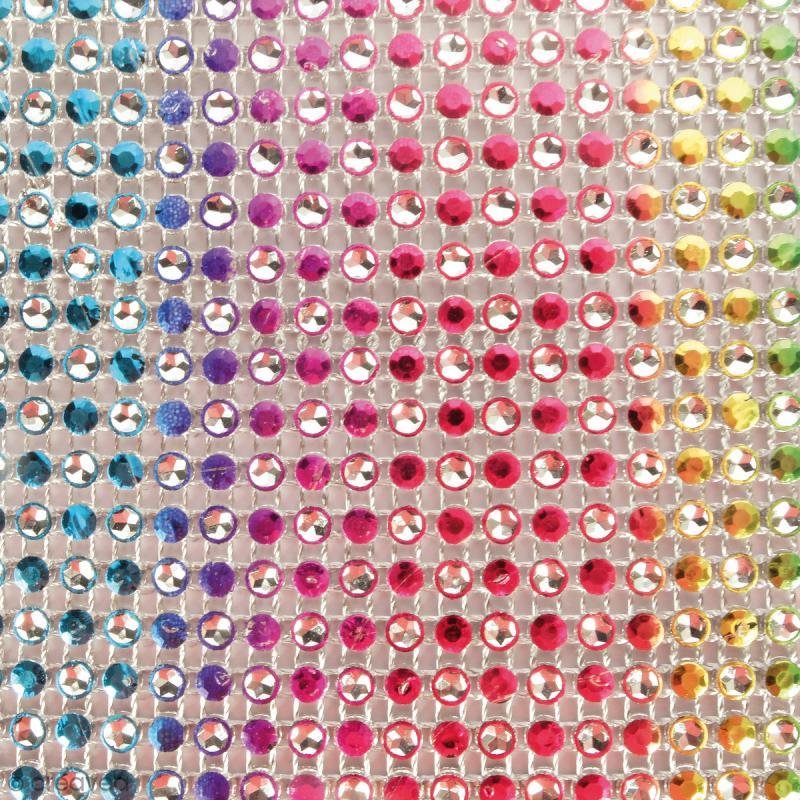 Strass adhésifs en bande - Multicolore clair - 10 x 25,5 cm - Photo n°2