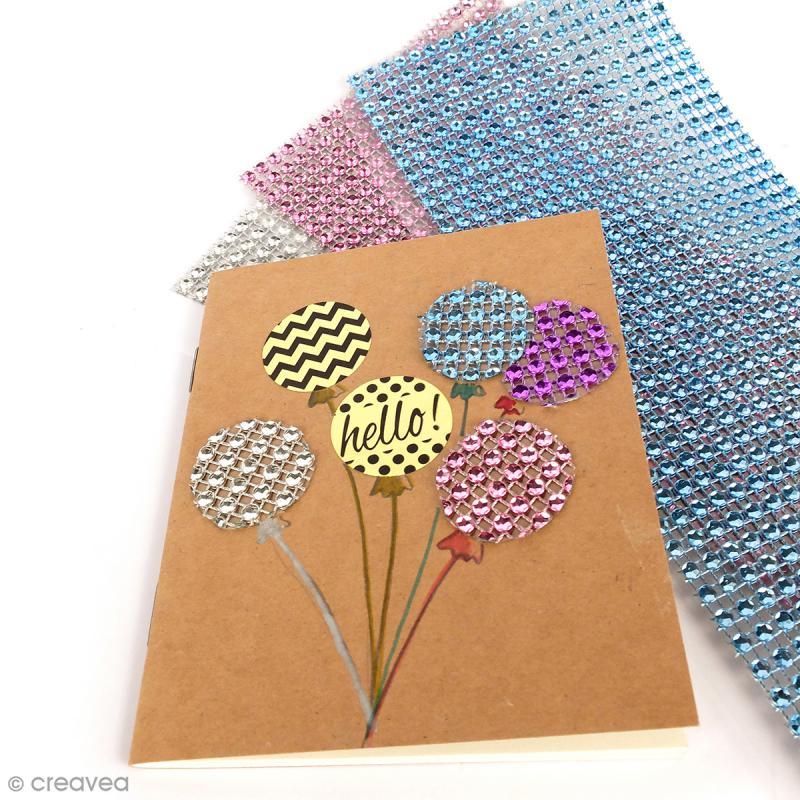 Strass adhésifs en bande - Multicolore clair - 10 x 25,5 cm - Photo n°4