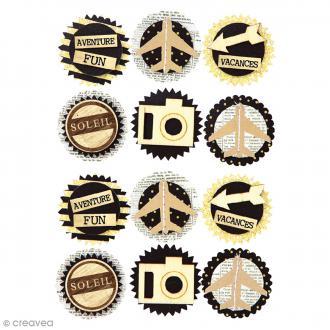 Stickers 3D - Voyage - 35 mm - 12 pcs