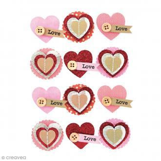 Stickers 3D - Coeur - 35 mm - 12 pcs