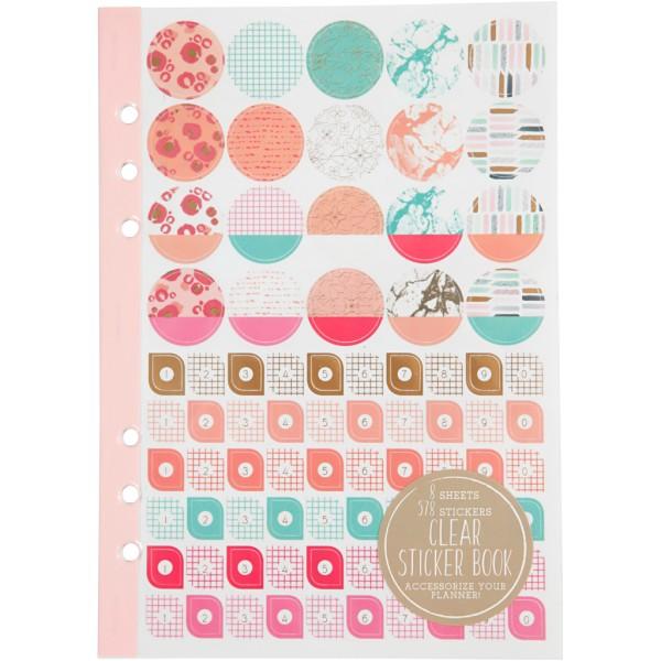 Livret de stickers pour planner - Rose et menthe - 578 pcs - Photo n°1