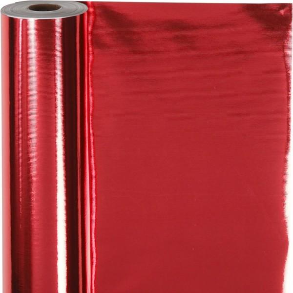 Rouleau papier cadeau - Rouge métallique - 50 cm x 100 m - Photo n°1