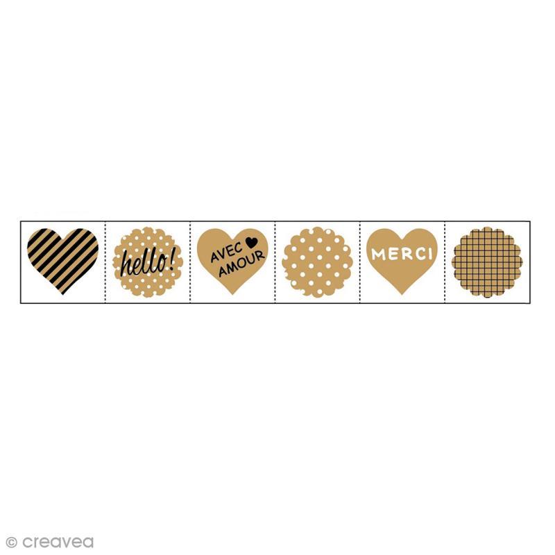 rouleau de stickers pr d coup s fantaisie kraft 30 mm. Black Bedroom Furniture Sets. Home Design Ideas