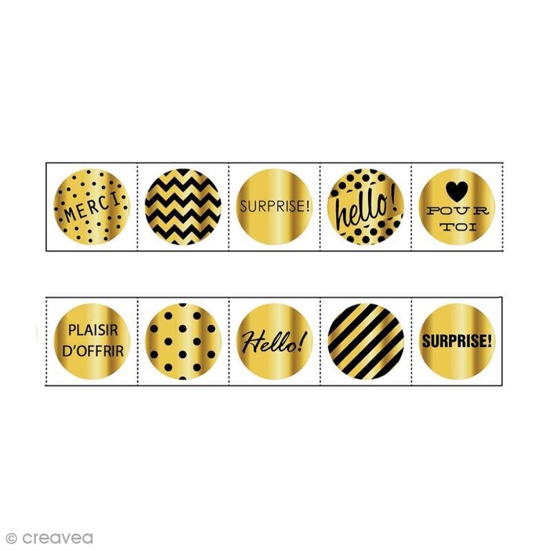 rouleau de stickers pr d coup s fantaisie or 30 mm x 5 m 160 pcs gommette stickers. Black Bedroom Furniture Sets. Home Design Ideas