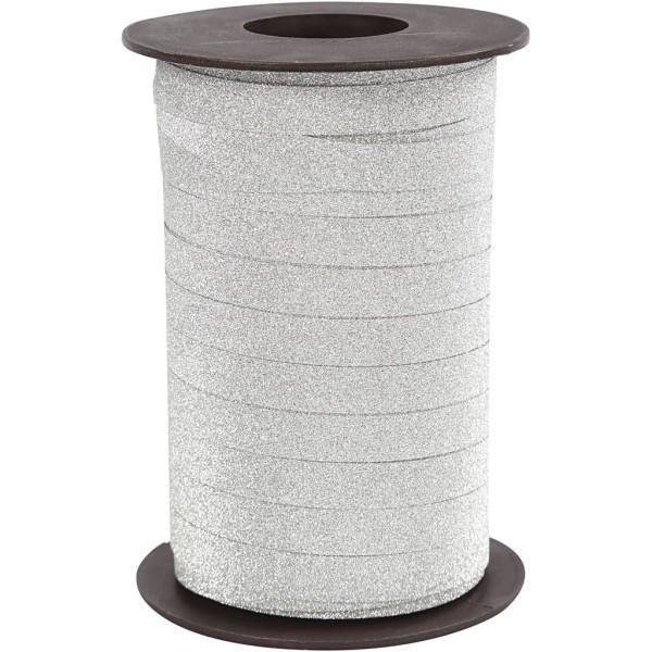 Bolduc à paillettes - 10 mm x 100 m - Blanc - Photo n°1