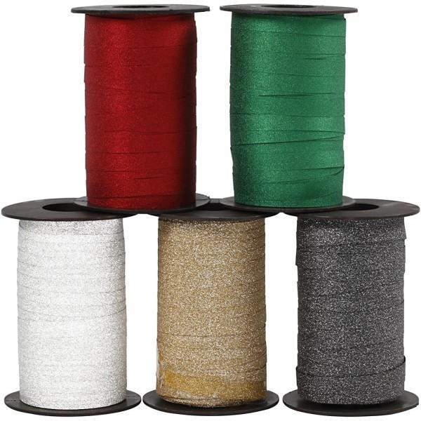 Assortiment de rubans cadeaux 10 mm - 5 bolducs à paillettes de 100 m - Photo n°1