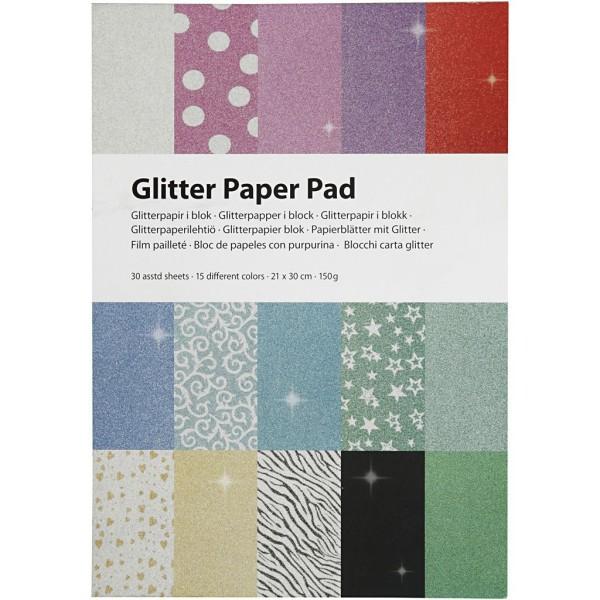 Papier pailleté - Uni et imprimé - A4 - 30 feuilles - Photo n°2