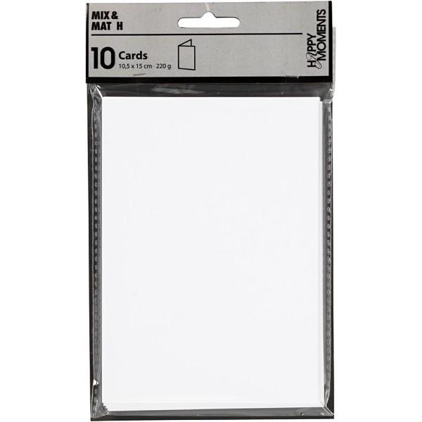 Carte pliée - 10,5 x 15 cm - Blanc - 10 pcs - Photo n°2
