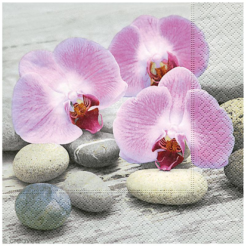 Serviette en papier - Orchidées - Photo n°1