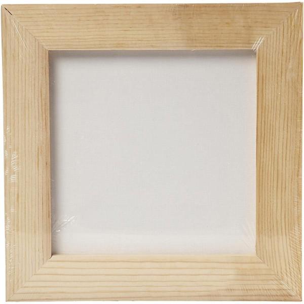 Carton entoilé avec cadre en bois - Blanc et Pin naturel - 20,8 x 20,8 cm - Photo n°2
