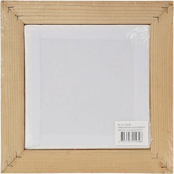 Carton entoilé avec cadre en bois - Blanc et Pin naturel - 20,8 x 20,8 cm - Photo n°3