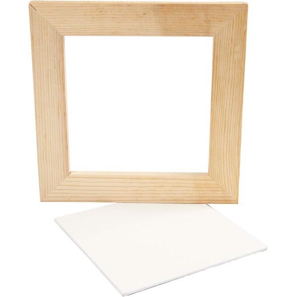 Carton entoilé avec cadre en bois - Blanc et Pin naturel - 20,8 x 20,8 cm - Photo n°1