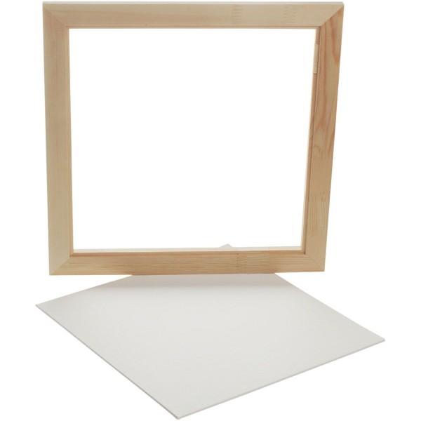Carton entoilé avec cadre en bois - Blanc et Pin naturel - 35,8 x 35,8 cm - Photo n°1
