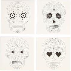 Châssis coton à motifs pré-dessinés - Crânes - 20 x 20 cm - 4 pcs