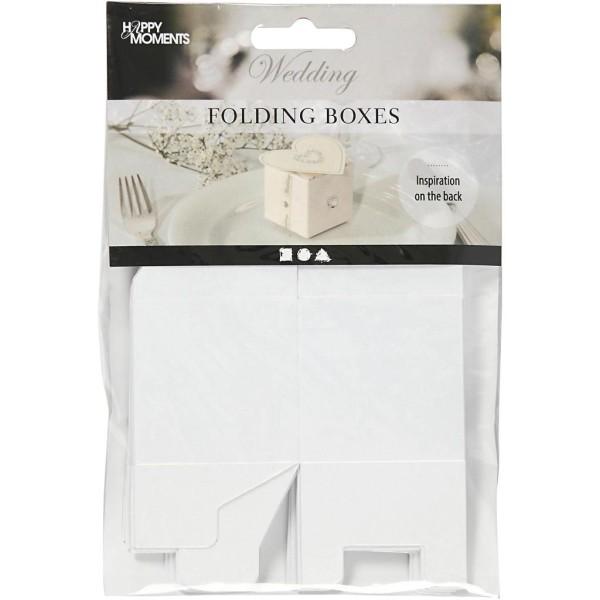 Boîtes Pliantes en carton - Blanc - 5,5 x 5,5 cm - 10 pcs - Photo n°2